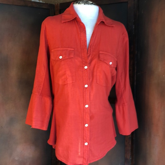 98597ffc James Perse Tops - James Perse Button Down Shirt Rust Knit inserts